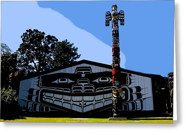 Northwestern Indian Greeting Cards - House of Totem Greeting Card by David Lee Thompson