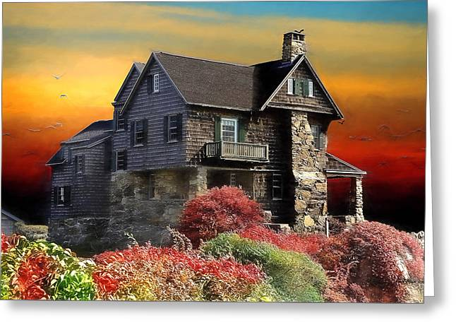 Sunset Greeting Cards Greeting Cards - House on the Hill Greeting Card by EricaMaxine  Price