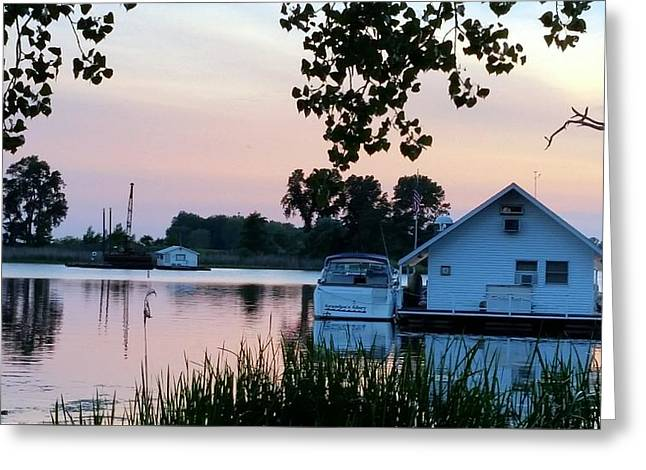 Reflecting Water Greeting Cards - Houseboats in the sunset Greeting Card by Kimberly  W