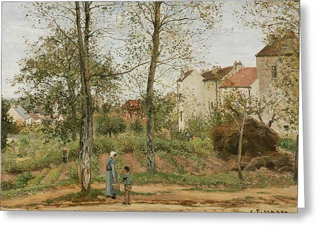 Houses At Bougival  Greeting Card by Camille Pissarro