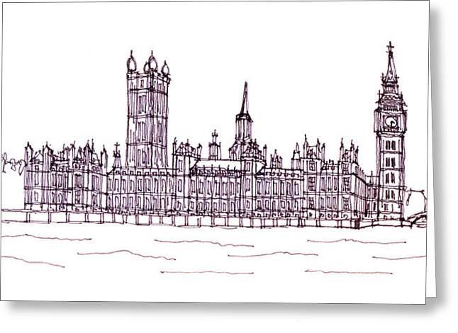 Steve Huang Greeting Cards - Houses of Parliament Greeting Card by Steve Huang