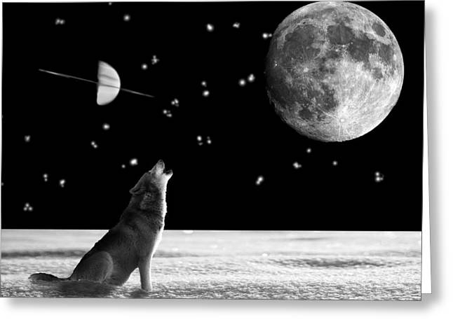 Snow-covered Landscape Digital Greeting Cards - Howling at the Moon Greeting Card by Markus P