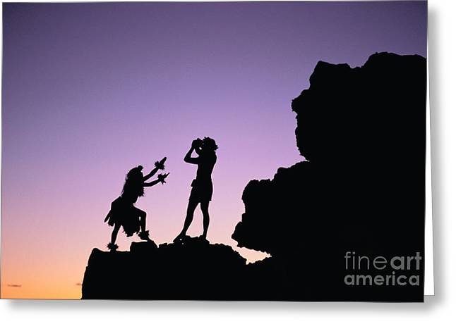 Aloha From Hawaii Greeting Cards - Hula Silhouette Greeting Card by William Waterfall - Printscapes