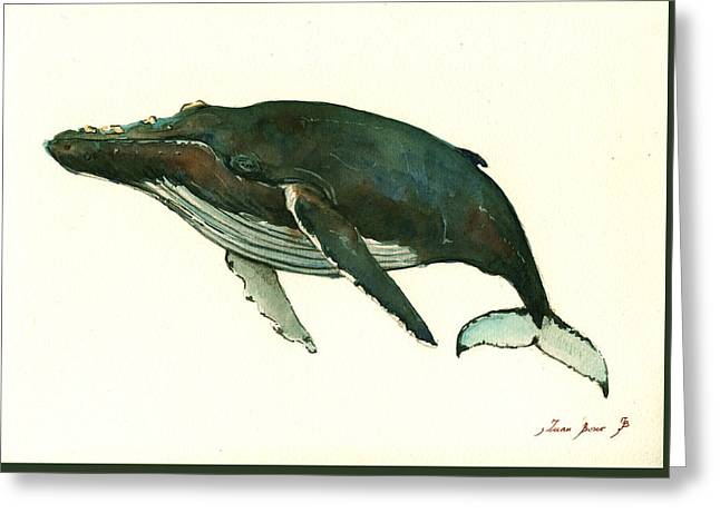 Rights Paintings Greeting Cards - Humpback whale  Greeting Card by Juan  Bosco