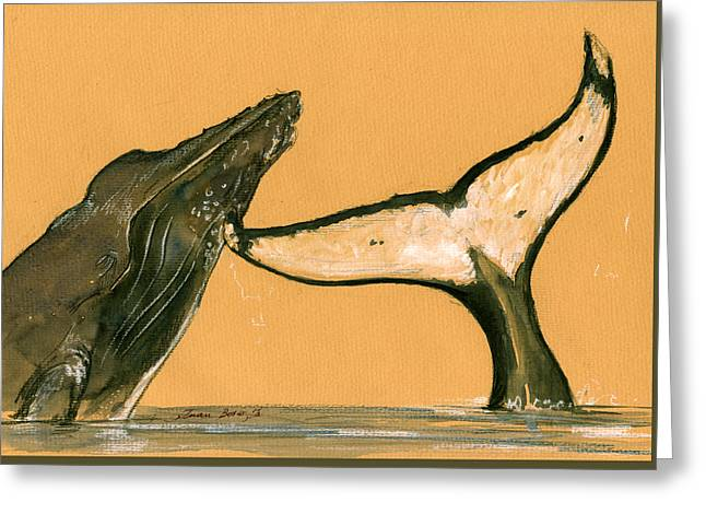 Humpback Whale Paintings Greeting Cards - Humpback whale painting Greeting Card by Juan  Bosco
