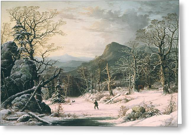 Hunter In Winter Wood  Greeting Card by George Henry Durrie