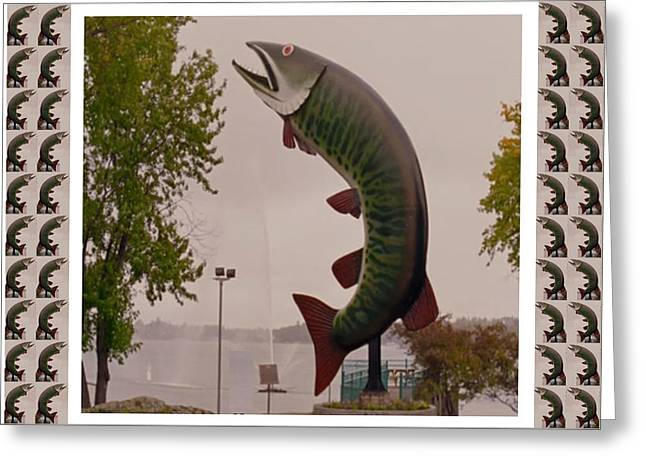 Sudbury Mixed Media Greeting Cards - Husky The Muskie Kenora Ontario  Roadside Attractions Photography Artistic Graphic Digital touch  Greeting Card by Navin Joshi