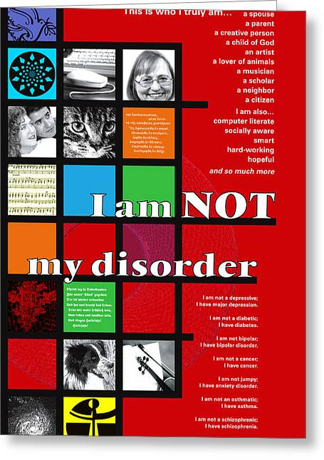Bipolar Greeting Cards - De Stijl 3  I Am NOT My Disorder Greeting Card by Chuck Mountain