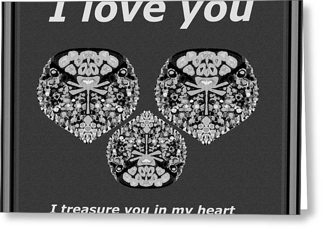 Special Occasion Greeting Cards - I love you I treasure you in my heart  Greeting Card by Navin Joshi