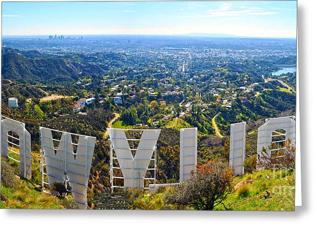 Observatory Greeting Cards - Iconic Hollywood  Greeting Card by Art K