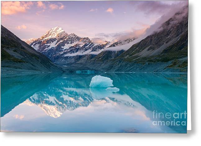 Sunset Prints Greeting Cards - Iconic view of Mt Cook reflected in lake at sunset - New Zealand Greeting Card by Matteo Colombo