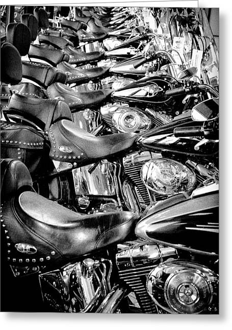 Handle Bar Greeting Cards - Ill Have a Dozen Harleys to Go Please Greeting Card by David Patterson