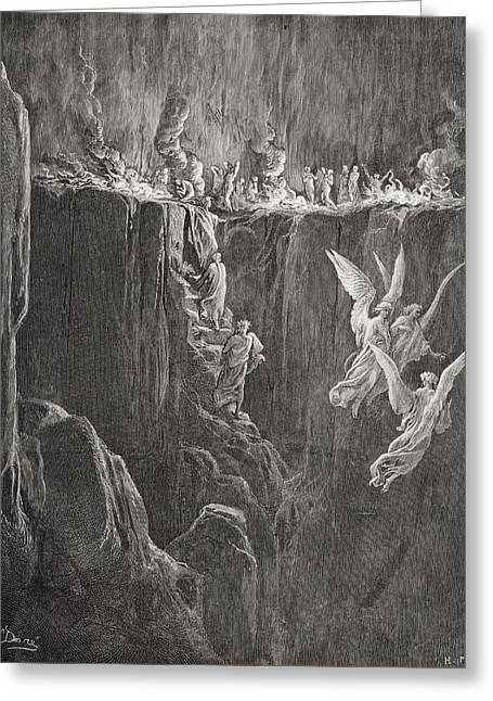 Damnation Greeting Cards - Illustration For Purgatorio By Dante Greeting Card by Ken Welsh