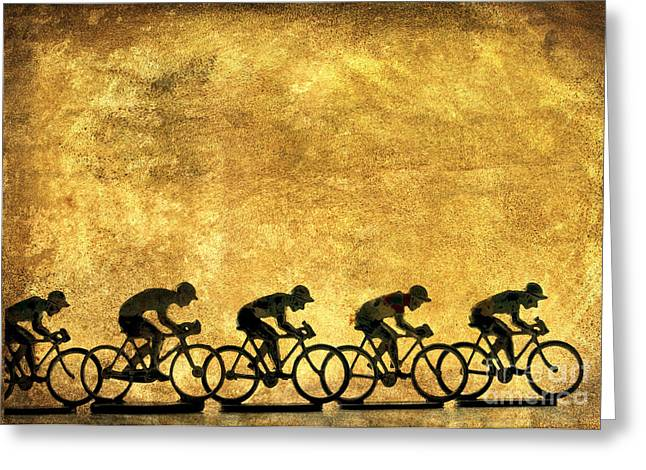 Cycles Greeting Cards - Illustration of cyclists Greeting Card by Bernard Jaubert