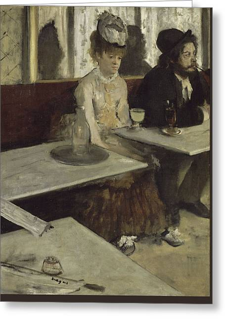 Edgar Home Greeting Cards - In A Cafe Greeting Card by Edgar Degas