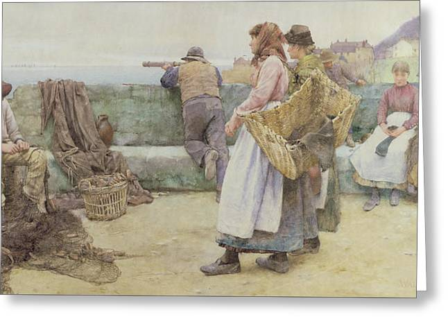 In A Cornish Fishing Village Greeting Card by Walter Langley