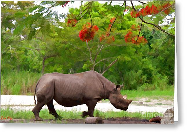 Rhinoceros Greeting Cards - In Charge Greeting Card by Judy Kay