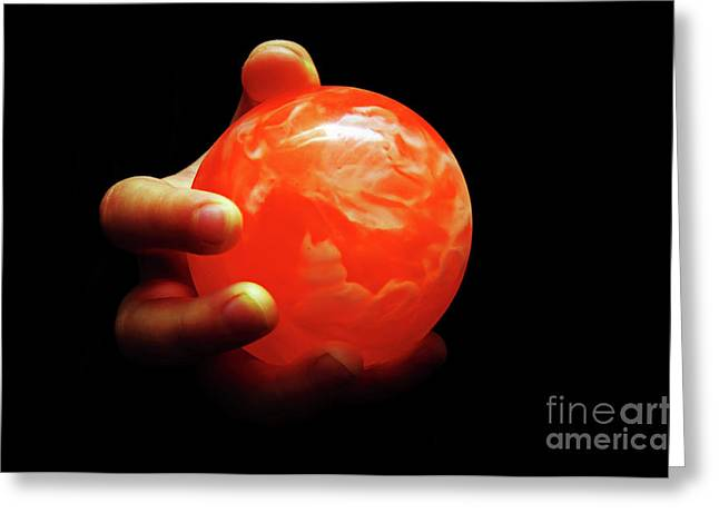 Orange Ball Greeting Cards - 1 In Her Hand Greeting Card by Andee Design