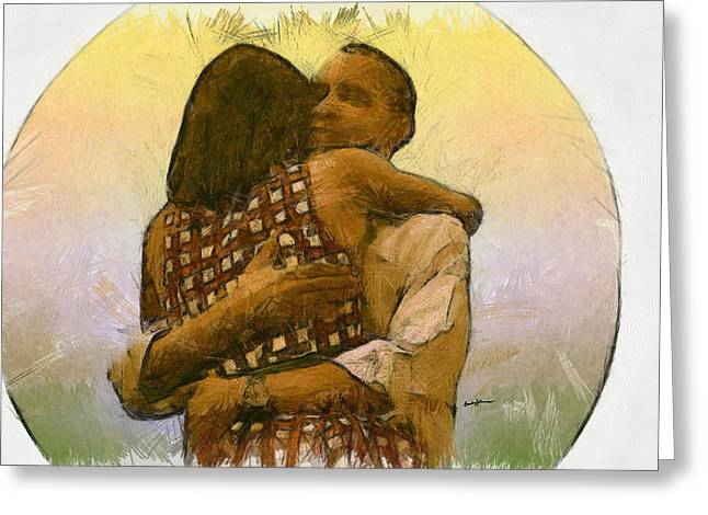 Michelle Obama Digital Art Greeting Cards - In Love Greeting Card by Anthony Caruso