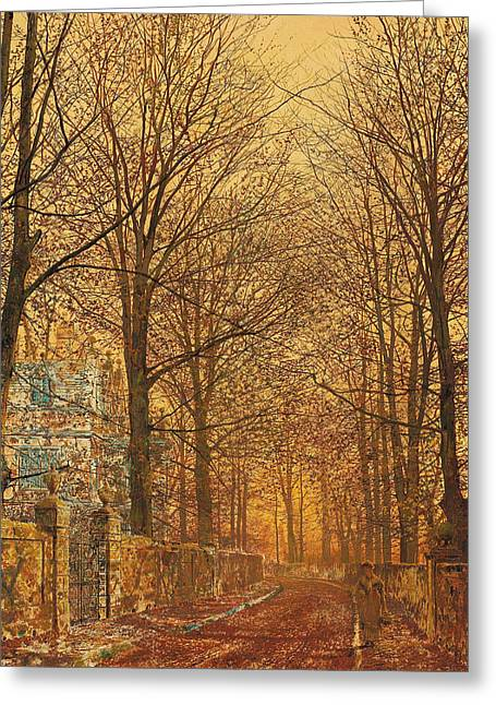 Autumn Prints Greeting Cards - In the Golden Olden Time Greeting Card by John Atkinson Grimshaw