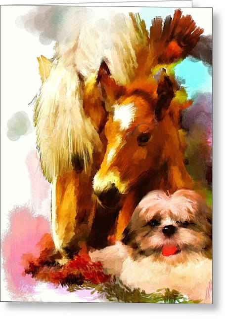 Puppy Digital Art Greeting Cards - In the moment Greeting Card by Richard Okun