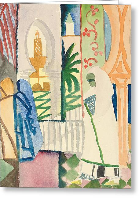 Religious Paintings Greeting Cards - In the Temple Hall Greeting Card by August Macke