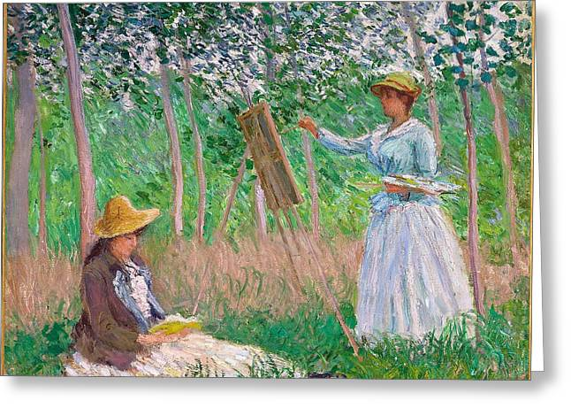 Vintage Painter Greeting Cards - In the Woods at Giverny - Blanche Hoschede at Her Easel with Suzanne Hoschede Reading Greeting Card by Claude Monet