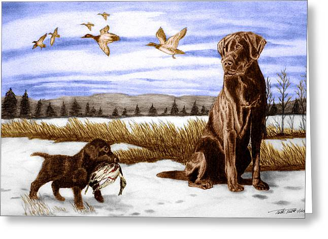 Dog Sketch Greeting Cards - In Training Greeting Card by Peter Piatt