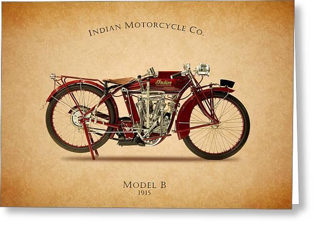 Indian Model B 1915 Greeting Card by Mark Rogan
