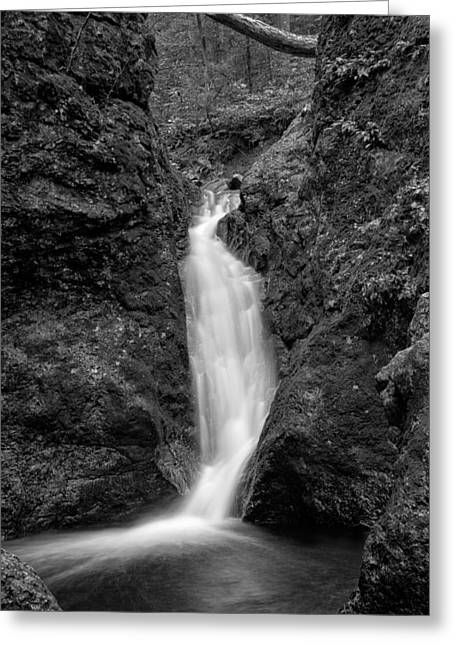 Indian Well Flows Bw Greeting Card by Karol Livote