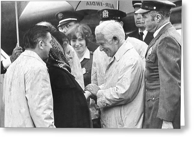 Senator Kennedy Greeting Cards - Indira Gandhi At JFK Airport Greeting Card by Underwood Archives