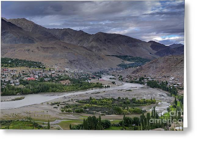 Indus River And Kargil City Leh Ladakh Jammu Kashmir India Greeting Card by Rudra Narayan  Mitra