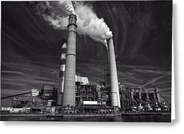 Industrial Concept Greeting Cards - Industrial Skyline Greeting Card by Rebecca Humann