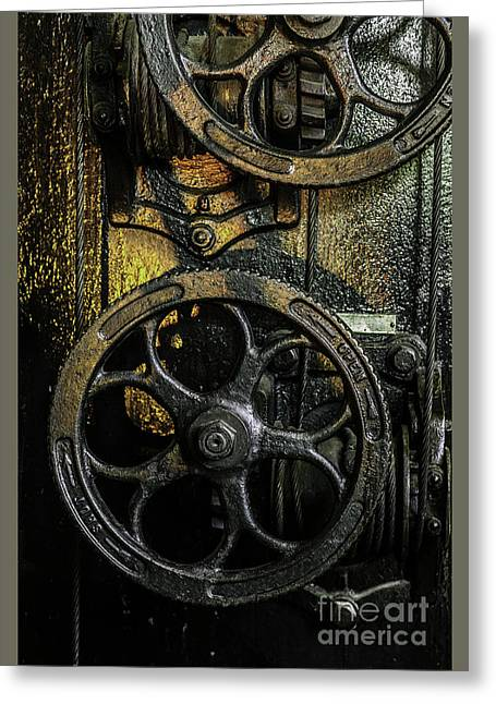 Industrial Wheels Greeting Card by Carlos Caetano
