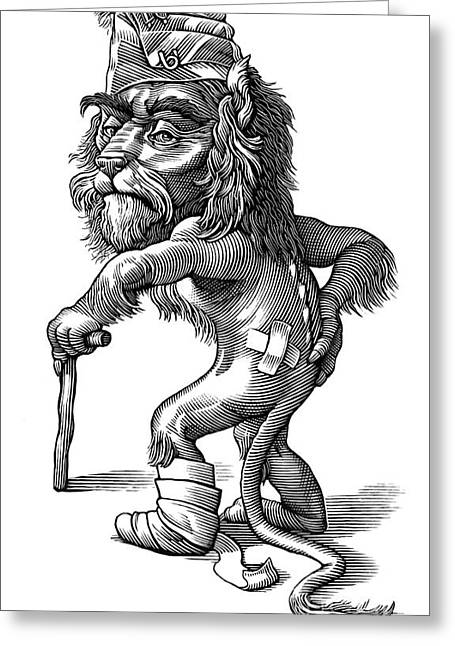 Linocut Greeting Cards - Injured Lion, Conceptual Artwork Greeting Card by Bill Sanderson