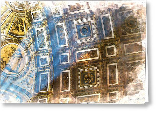 Michelangelo Greeting Cards - Inside the Vatican Greeting Card by Nostalgic Art