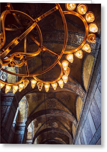 Byzantine Greeting Cards - Interior detail of Hagia Sophia Istanbul Turkey Greeting Card by Eduardo Huelin