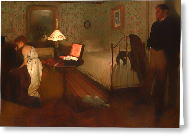 Historical Pictures Paintings Greeting Cards - Interior Greeting Card by Edgar Degas