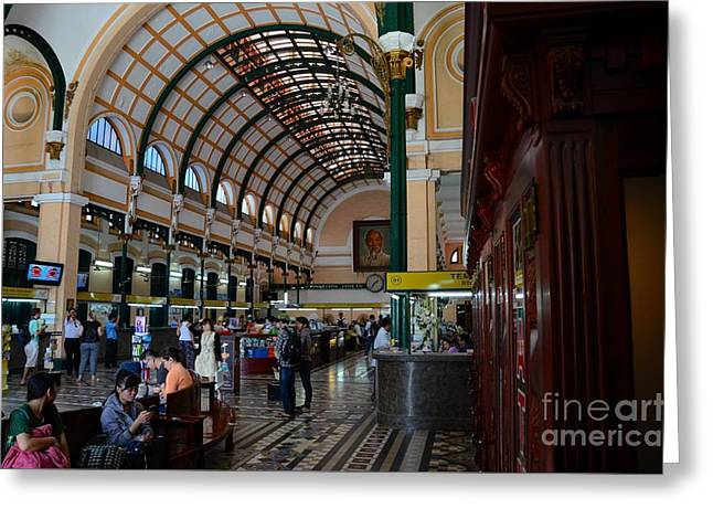 Gold Buyers Greeting Cards - Interior hall of historic Saigon Central Post Office building Vietnam Greeting Card by Imran Ahmed