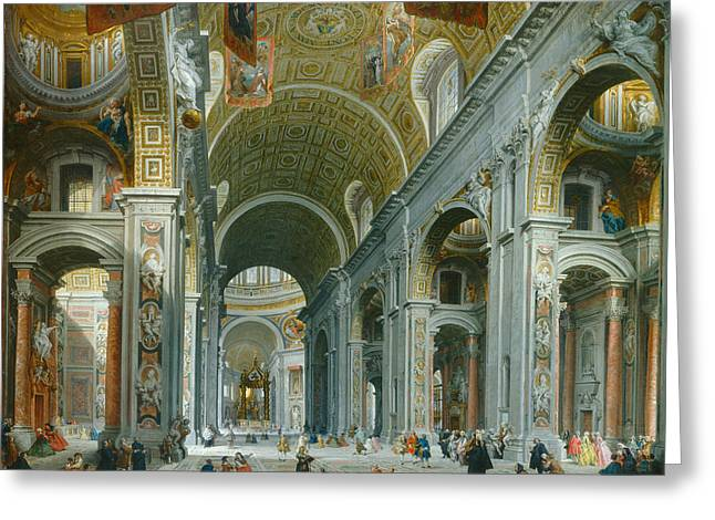 Interior Of Saint Peters - Rome Greeting Card by Giovanni Paolo Panini