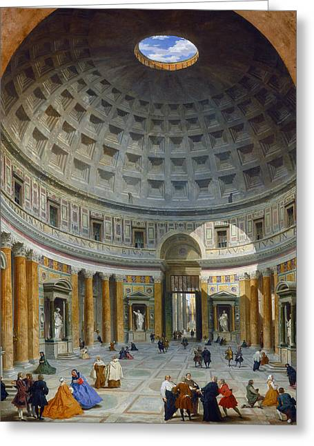 Interior Of The Pantheon - Rome Greeting Card by Giovanni Paolo Panini