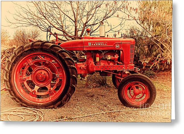 Backroads Greeting Cards - International Harvester McCormick Farmall Farm Tractor . 7D10320 Greeting Card by Wingsdomain Art and Photography