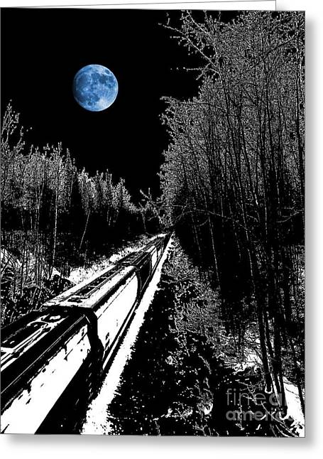 Thomas Vanselus Digital Art Greeting Cards - Into The Night Blues Greeting Card by The Stone Age