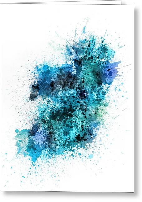Cartography Digital Greeting Cards - Ireland Map Paint Splashes Greeting Card by Michael Tompsett