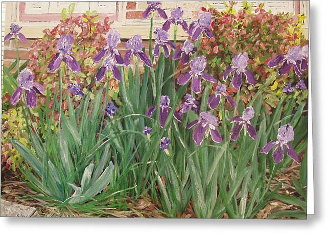 Arkansas Paintings Greeting Cards - Irises Fort Smith Art Center Greeting Card by Sharon  De Vore