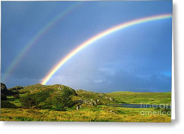 County Clare Greeting Cards - Irish Double Rainbow Greeting Card by John Greim