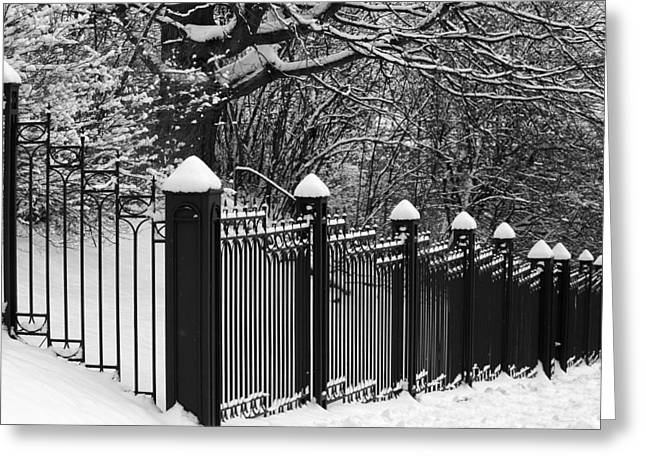 Snow Capped Greeting Cards - Iron Fence Greeting Card by David  Hubbs