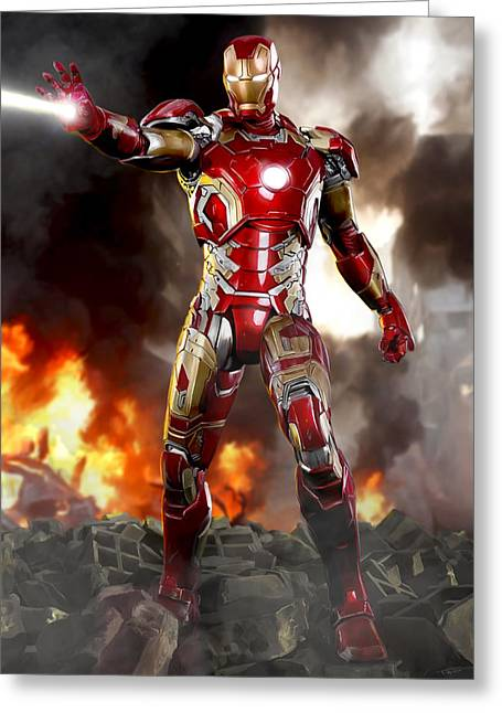 Genius Digital Greeting Cards - Iron Man - No Battle Damage Greeting Card by Paul Tagliamonte