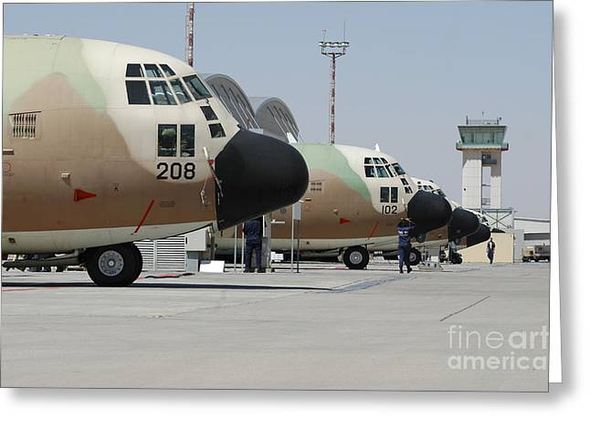 Traffic Control Greeting Cards - Israeli Air Force C-130 Karnaf Aircraft Greeting Card by Riccardo Niccoli
