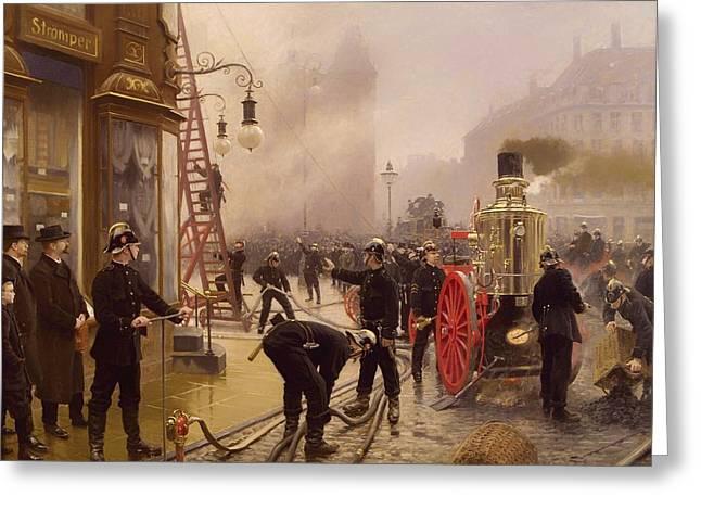 Smoky Paintings Greeting Cards - It Burns at Kultorvet Greeting Card by Paul Gustav Fischer